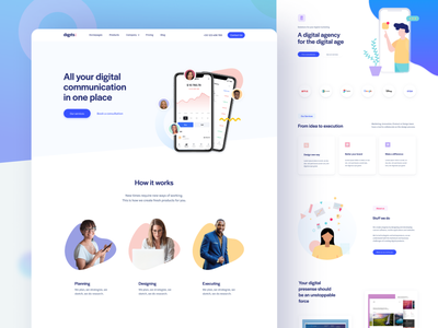 Digits Landing Page Template freebie figma template portfolio agency landing page web design clean website minimal site landing homepage web