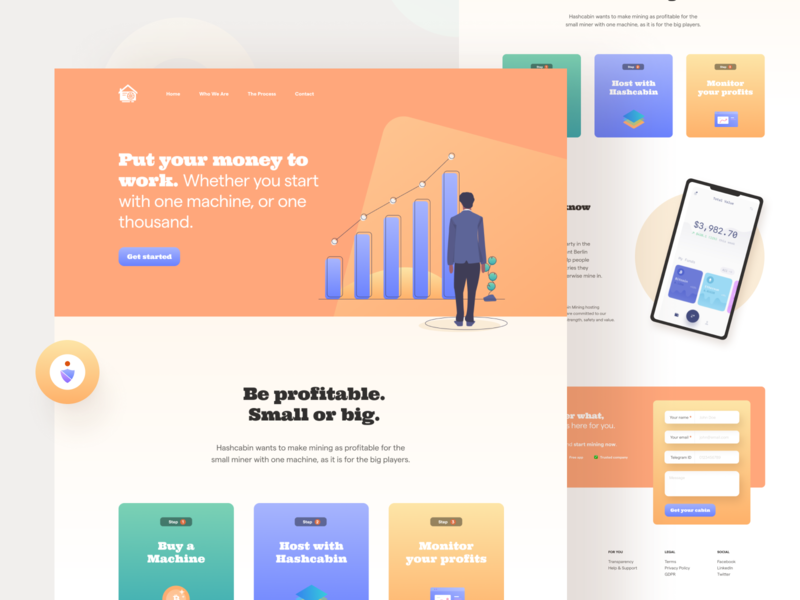 Landing Page for Bitcoin Mining Hosting bitcoin cryptocurrency homepage landing page landing web design