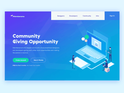 Blue Header Exploration with Illustration isometric blue illustration website landing site homepage web