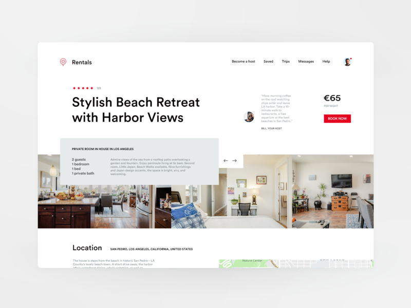 Page: Apartment for Rent (Header on desktop/tablet) architecture gallery real estate booking airbnb apartment rental clean grid minimal landing site web