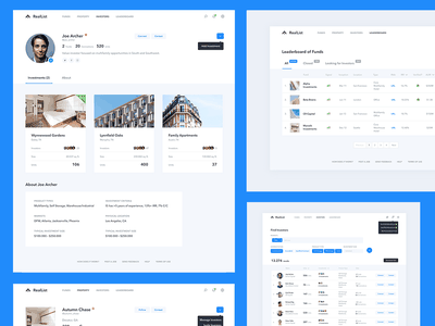 RealList - AngelList for Real Estate dashboard design investor social network social app financial app investing property real estate website web app search search bar user profile clean minimal ui dashboard