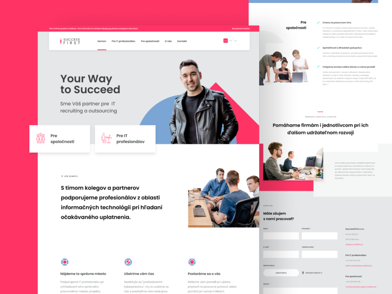 Recruitment Company Homepage red pink grid layout tech recruitment clean minimal website landing homepage site web