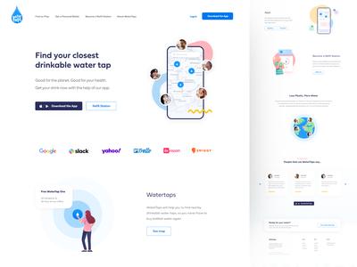 Water Refill Website webapp app design web design app figma ui clean minimal website landing homepage site web