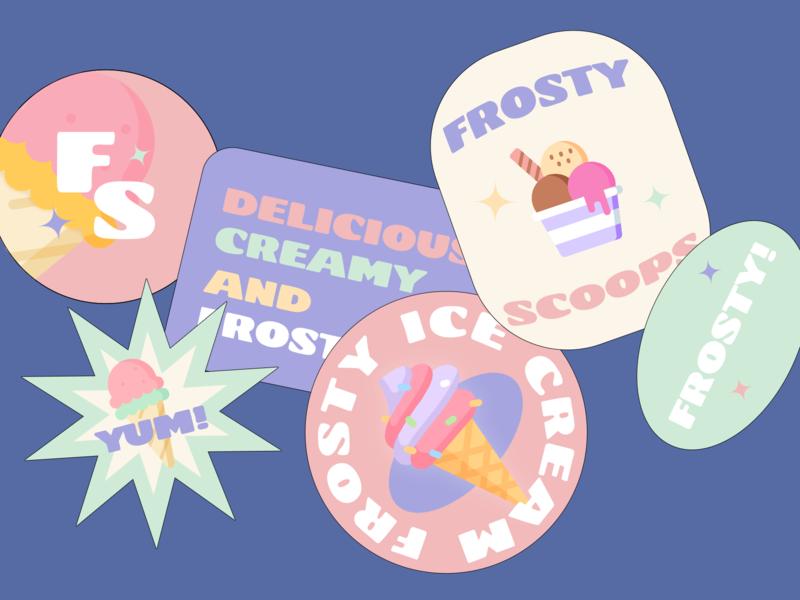 stickers for frosty scoops ice cream fun brand identity branding design logo brand design adobe photoshop type 2020 sticker design ice cream logo ice cream stickers branding