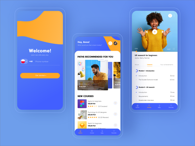 E-learning app design e-learning ux ui education app education concept app blue