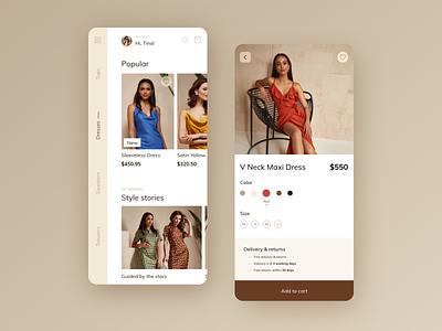Fashion App UI fashion design beige ecommerce app ecommerce fashion app fashion app design ux design uidesign