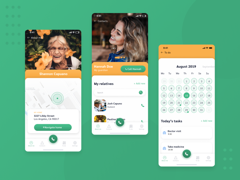Mobile application for people with Alzheimer app design app helping to do list tasks contacts calendar yellow green mobile app design mobile ui  ux uidesign ux design ux