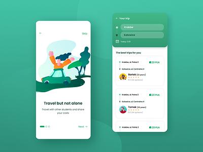 Carpooling App Concept ridesharing ui mobile app design illustraion green carpooling mobile app mobile ui design ux design uidesign