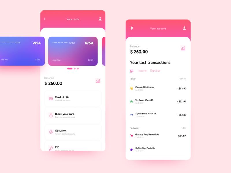 Banking app concept design violet uidesign ux ui banking app app design app