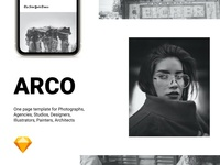Arco, one page template for Sketch and Figma figma website design website design architects painters illustrators portfolio studio agency traveller photographer white black onepage sketch template