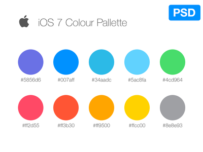 iOS7 Color Palette ios color blue green red pink white yellow apple gray lila