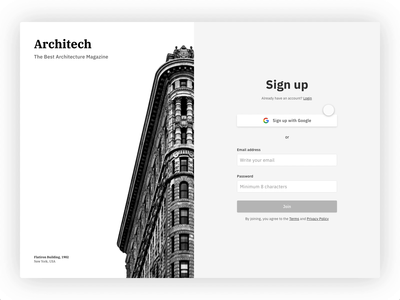 Subscription to Architech Magazine register page register signupform signup grey web motion video animation payment process flow website architechture buildings adobe xd adobexd black white