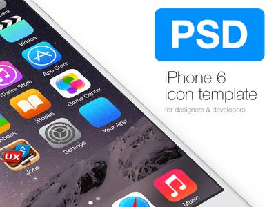iPhone 6 Icon Template icon template iphone6 iphone psd ios apple ios8