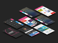 Perspective dribbble app screens mock up