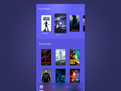 Movies icon tapbar search timeline play cover purple white app iphone movie
