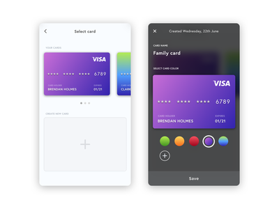 Create a new card orange red blue green purple black white iphone ios app payment card