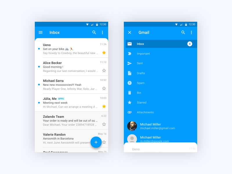 Gmail redesign for Android white. blue mobile timeline android google inbox mail