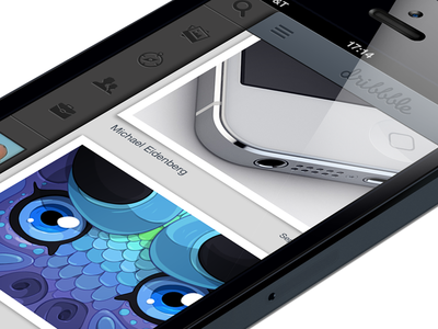 Dribbble for iPhone 5 ios app iphone red black white gray pink blue dribbble photo