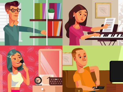 People characters in scenes piano piano keys makeup tv shows reading book minimal home scene people artwork art vector female characterdesign cartoon character design illustration drawing motion design