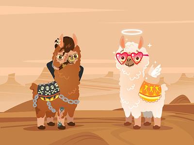 Bad vs Good funnyanimal mexico funny flat desert desert landscape graphic design animals art design characterdesign artwork vector branding ui logo character illustration lama