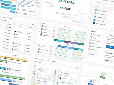 Illustrations of PM tool features vector illustration flat ui design
