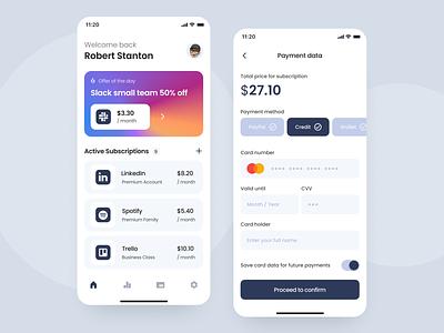 Subscriptions App Design vector ux ui app mobile design