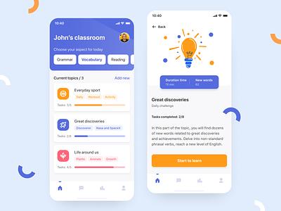 English Learning App app ui ux mobile