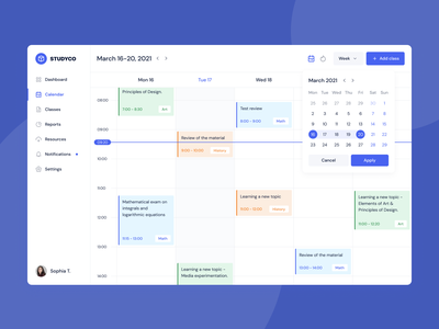 StudyCo - Educational platform design analytics dashboard web app e-learning educational schedule calendar design ui ux