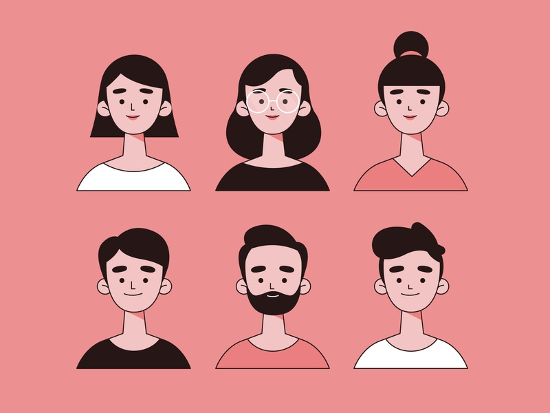 People Avatars avatar icons avatars woman men vector character concept illustration flat designs flat design