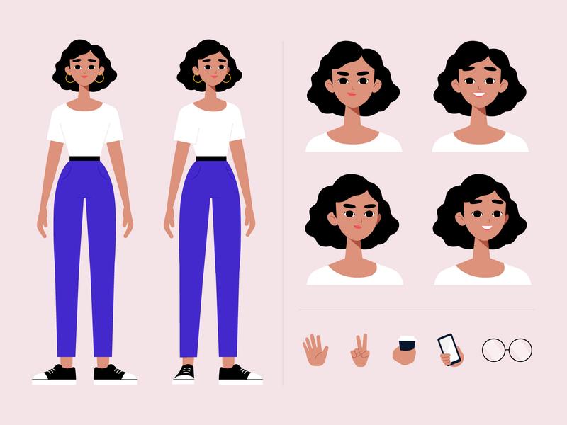 Character poses illustration character design woman vector character concept illustration flat designs flat design