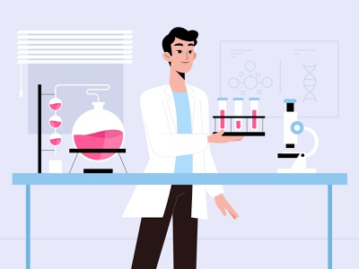 Science Lab cure virus science lab science men vector character concept illustration flat designs flat design