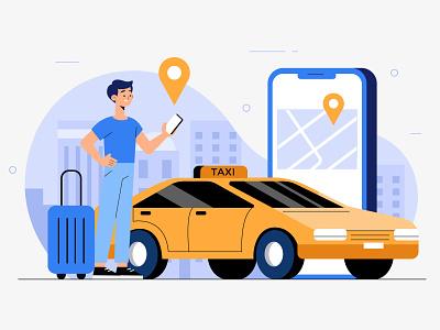 Taxi App Concept taxi app app design app men vector character concept illustration flat designs flat design