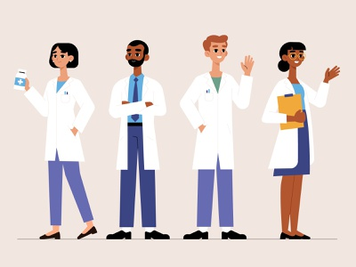 Pharmacist collection medicine collection pharmacist woman men vector character concept illustration flat designs flat design