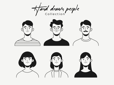 Hand drawn colorless people avatar avatar collection portrait women men people freepik free flat designs character concept vector illustration free resource flat design