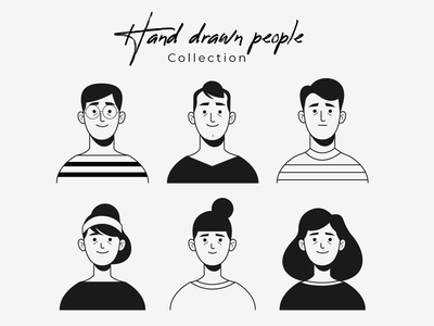 Hand drawn colorless people avatar collection men woman freepik free flat designs character concept vector illustration free resource flat design
