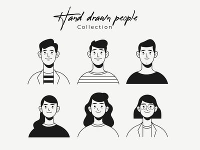Hand drawn colorless people avatar collection collection woman men freepik free flat designs character concept vector illustration free resource flat design
