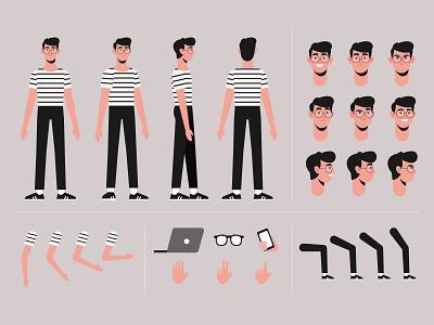 Cartoon boy character template motion design template men freepik free flat designs character concept vector illustration free resource flat design