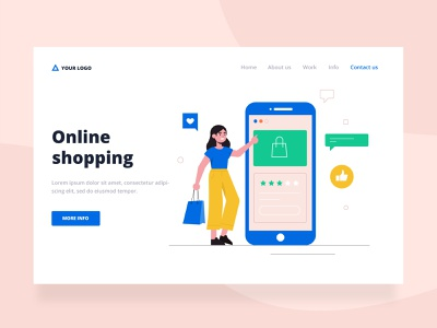 Shopping landing page online shopping woman landing page landing design freepik free flat designs character concept vector illustration free resource flat design