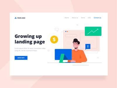 Growing up landing page design