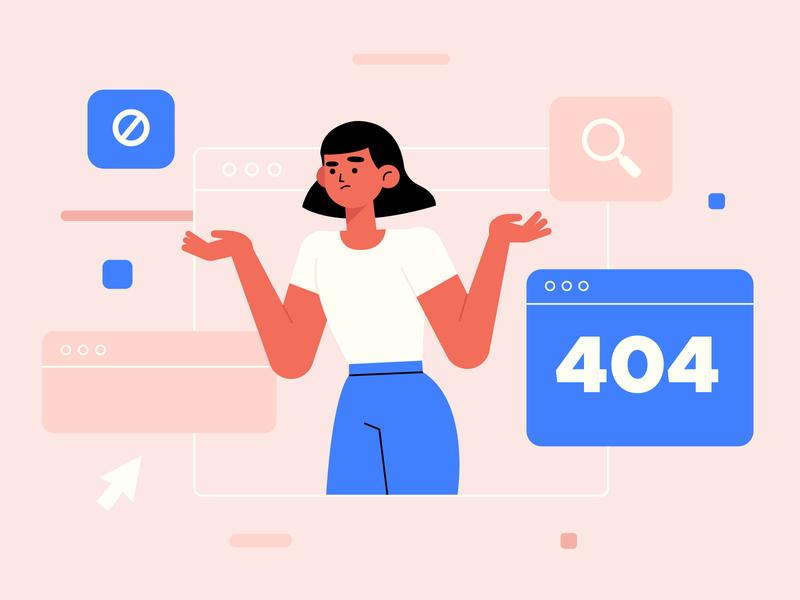 Error 404 woman landing page landing design freepik free vector illustration free resource flat designs flat design character concept