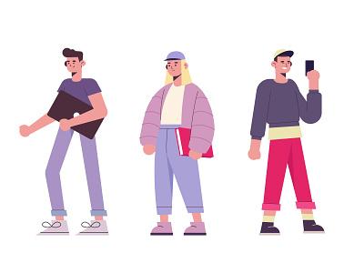 People going university woman men freepik free vector illustration free resource flat designs flat design character concept