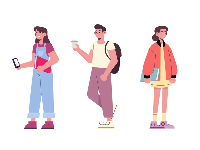 People going university woman men freepik free vector illustration free resource flat designs flat design character concept