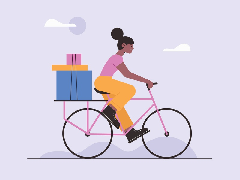 Bicycle delivery woman freepik free vector illustration free resource flat designs flat design character concept