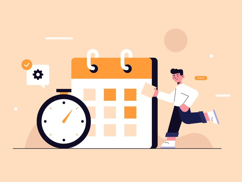 Time management concept landing page men landing page landing design freepik free vector illustration free resource flat designs flat design character concept