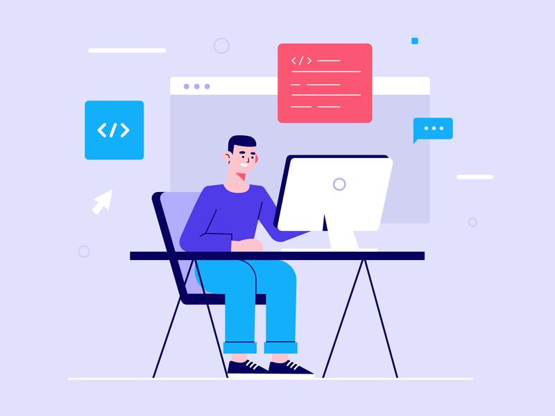 Programmer working flat style programmers freepik free vector illustration free resource flat designs flat design character concept