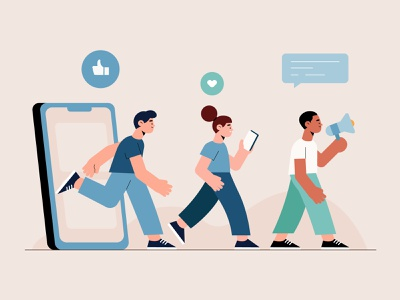 People exiting through phone freepik free vector illustration free resource flat designs flat design character concept