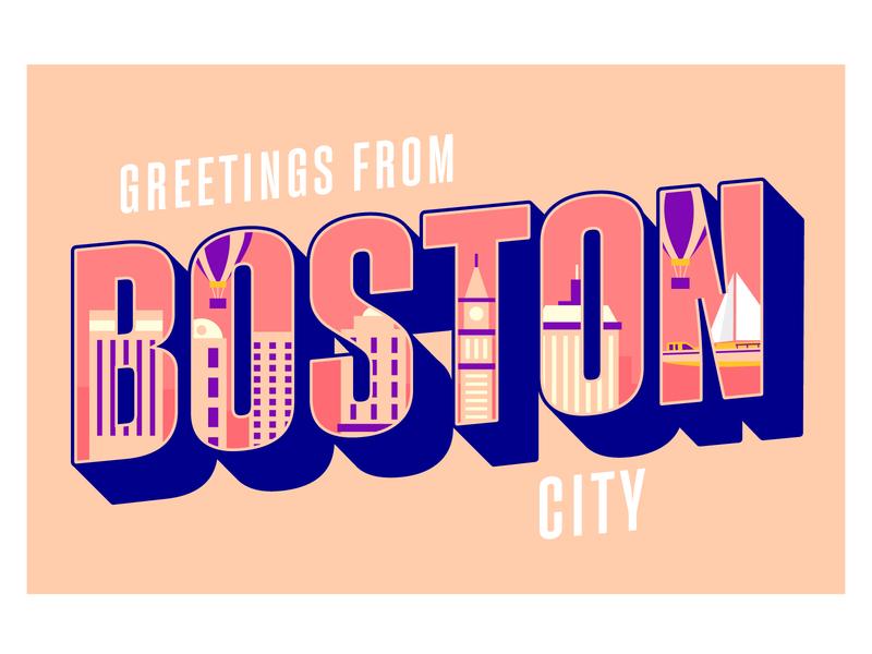 Boston City Lettering lettering freepik free vector illustration free resource flat designs flat design