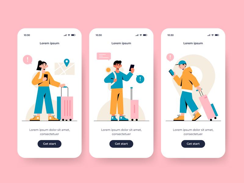Travel onboarding app screens onboarding travel app screens app woman men vector character concept illustration flat designs flat design