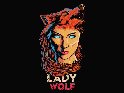 wolf lady animation typography logo design illustration branding illustrator wolf pack wolf mascot wolf illustration creazy wolf logo wolf logo lady wolfman wolf lady