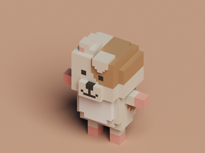Voxel dog 3d dog voxelart lowpoly magicavoxel voxel